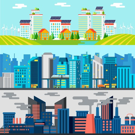 horizontal: Colorful Cityscape Horizontal Banners