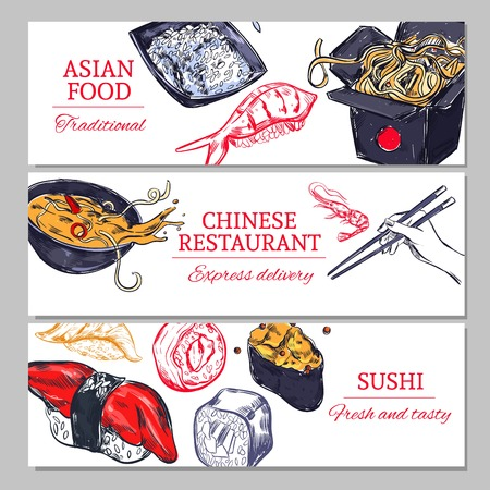 horizontal: Chinese Food Horizontal Banners Illustration