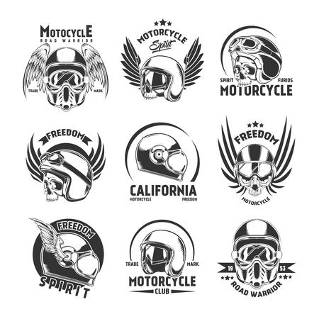 Motorcycle Helmet Design Elements Set Vector Illustration