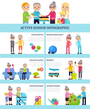 flat: Active Senior People Flat Infographics