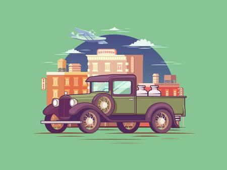 retro: Retro Pickup Truck Concept Illustration