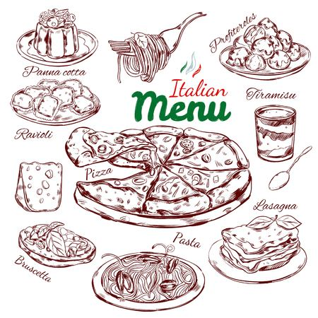 Italian Food Sketch Collection Vettoriali