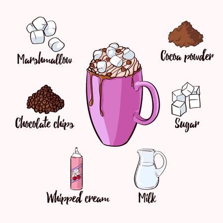 Bunte Kakao-Getränk-Rezept Standard-Bild - 70766351