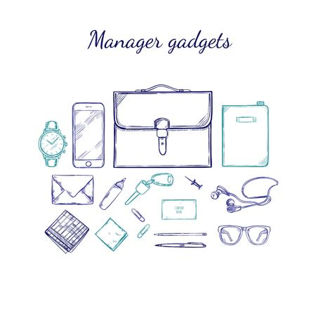 manager: Manager Accessories Sketch Set Illustration