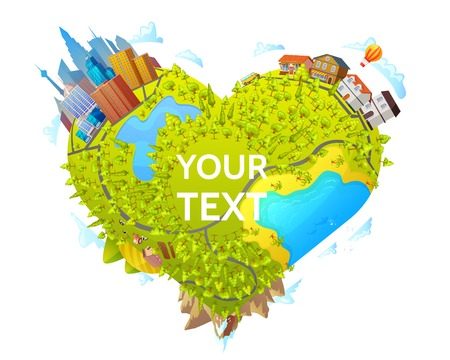 Heart Shape Map Concept Illustration