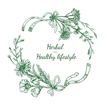 Herbal Sketch Round Frame Иллюстрация