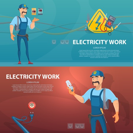 Colorful Electricity Work Horizontal Banners Illustration