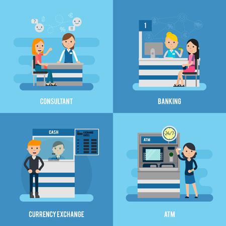 Bank Service Flat Concept Illustration