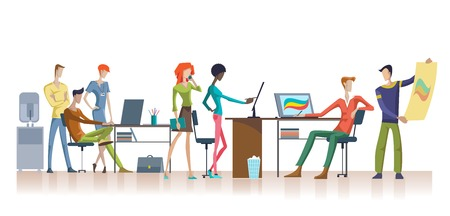 teamwork: Colorful Office Teamwork Template