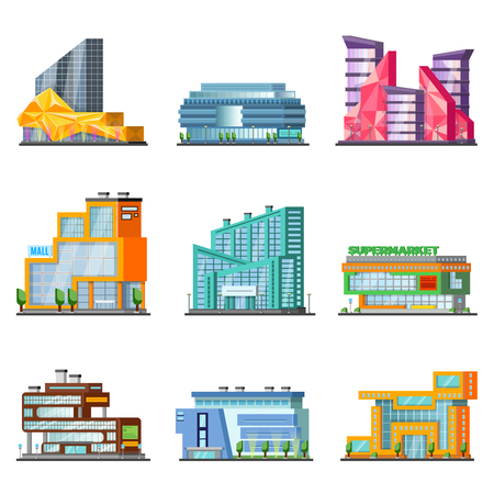 Shopping Mall Building Set Illustration