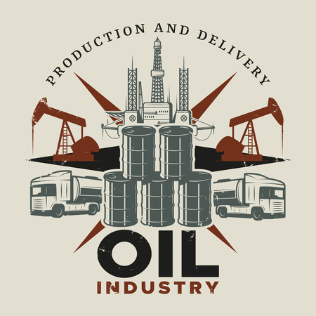 extraction of oil: Vintage Extraction Oil Template Illustration