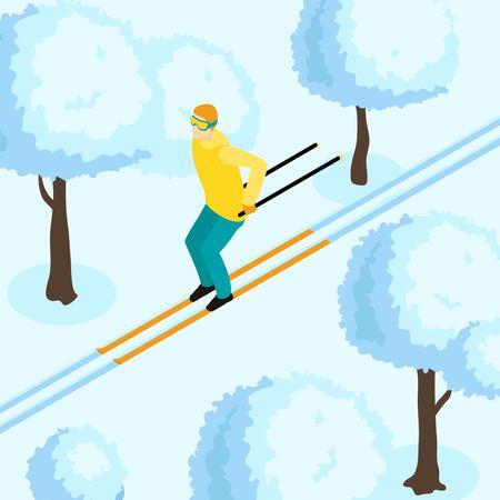 ice slide: Skiing Winter Isometric Template