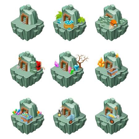 Isometric Mining Islands Set