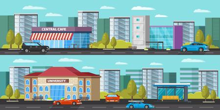 Bannières horizontales de paysage urbain