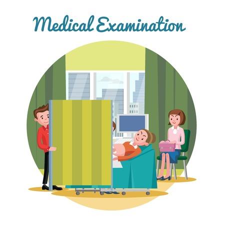 medical scan: Medical Ultrasound Diagnostic Procedure Template Illustration