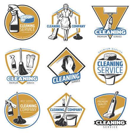 Colorful Cleaning Service Labels Imagens
