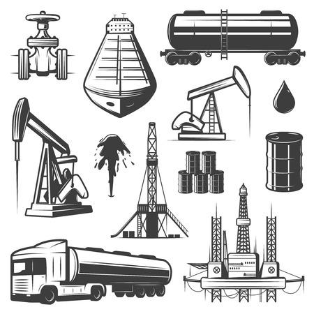 extraction of oil: Vintage Extraction Oil Elements Set