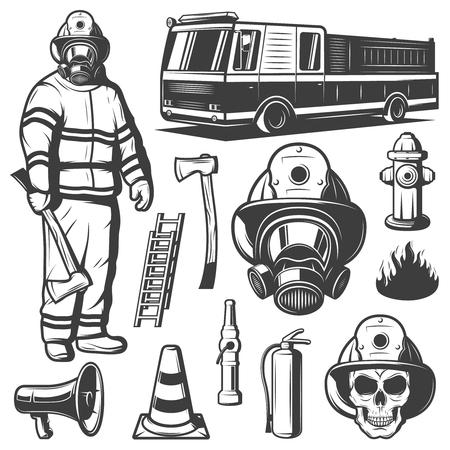 vintage: Firefighting Vintage Elements Set