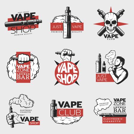 Kleurrijke elektronische sigarettenlogo's