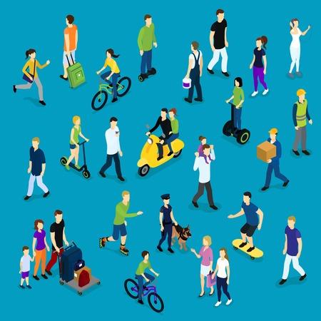 rulos: Plantilla isométrica de la multitud social