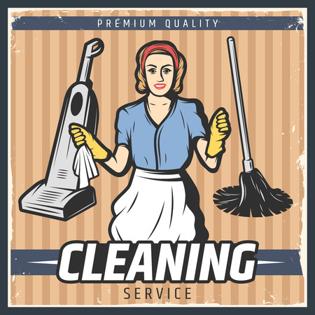 hoover: Vintage Cleaning Poster Stock Photo