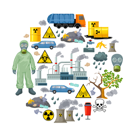 environmental issues: Ecological Problems Elements Composition Stock Photo