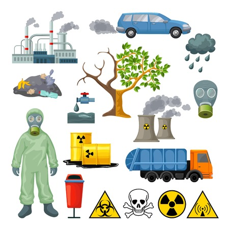 environmental suit: Cartoon environmental pollution icons set with radioactive nuclear toxic elements and industrial ecological problems isolated vector illustration