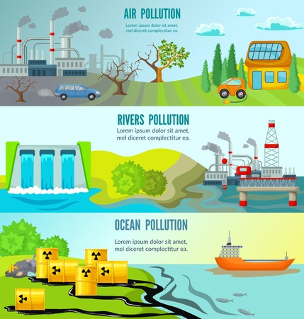 Ecological problems horizontal banners with chemical radioactive industrial garbage toxic environmental pollution vector illustration Ilustração