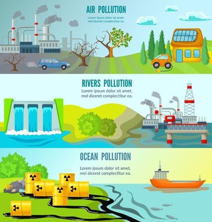 Ecologische problemen horizontale banners met chemische radioactieve industriële huisvuil giftige milieuverontreiniging vectorillustratie Stock Illustratie