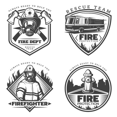 firefighting: Vintage Firefighting Emblems Set