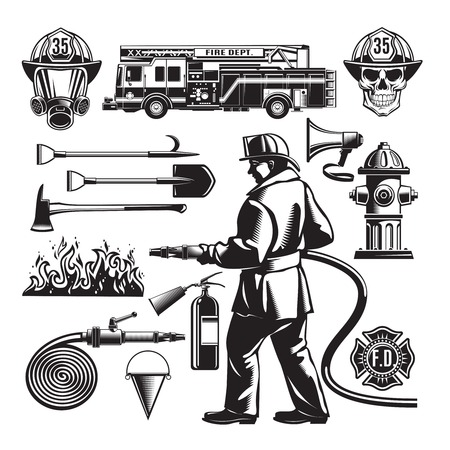 firefighting: Vintage Firefighting Elements Set