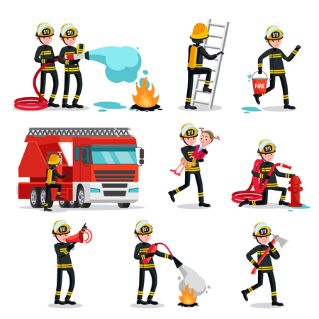 firefighting: Firefighting Colorful Icons Set