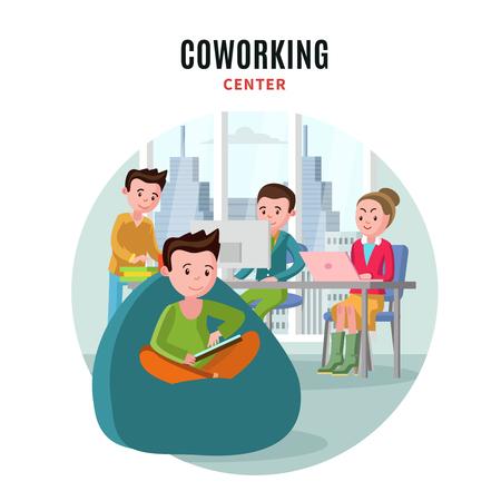 flat: Coworking Center Flat Composition Illustration