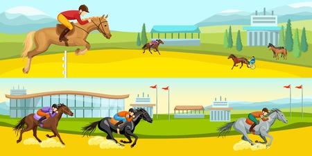 Equestrian Sport Cartoon Horizontal Banners Illustration