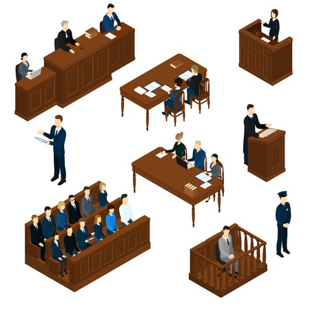 Isometric People Judicial System Set Illustration