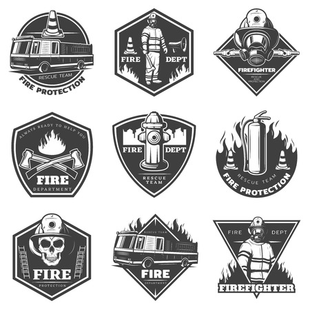 firefighting: Monochrome Professional Firefighting Labels Set