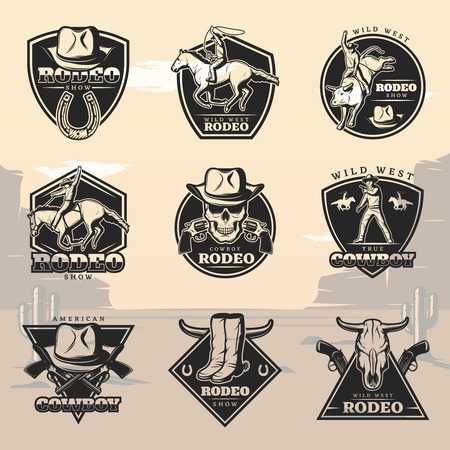 Schwarzes Vintage Rodeo Logos Set Logo