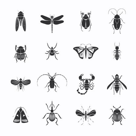 Monochrome Insects Silhouettes Set Ilustração
