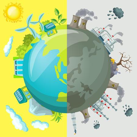Ökologie Cartoon Vergleichendes Konzept