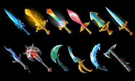 Cartoon Weapon Icons Set