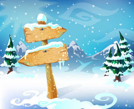Cartoon Winter Landscape Template Illustration