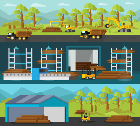 horizontal: Timber Production Horizontal Banners Illustration