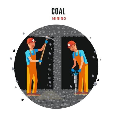 Kohle Extraktion flache Vorlage mit arbeitenden Bergleute in Uniform holding Pick und bohren Vektor-Illustration