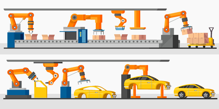 Industrial automation robot horizontal banners with automated packing and machinery production processes vector illustration  イラスト・ベクター素材