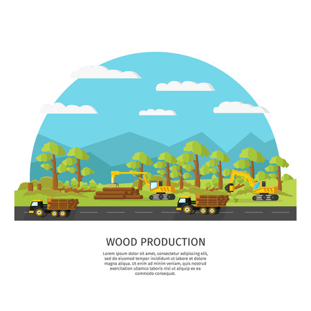 Industrial wood manufacturing template with vehicle and trees cutting loading transportation processes vector illustration