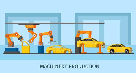 로봇 팔 및 조립 라인 벡터 일러스트 레이 션에서 작동하는 산업 자동화 기계 생산 템플릿