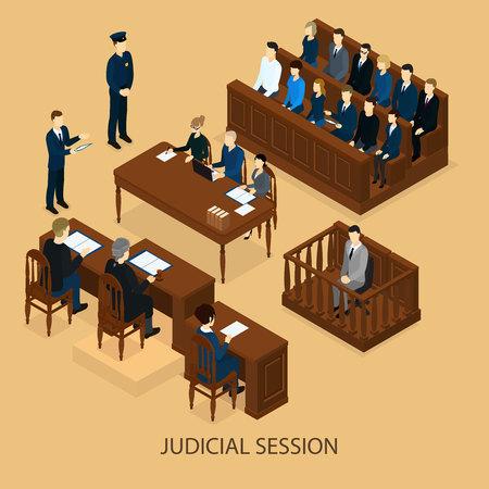 Isometric Court Session Template Vektorové ilustrace