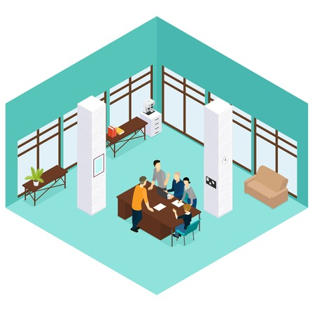 teamwork: Isometric People Teamwork Concept