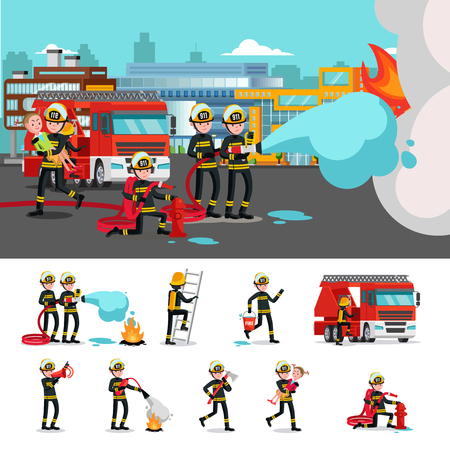 firefighting: Colorful Firefighting Composition