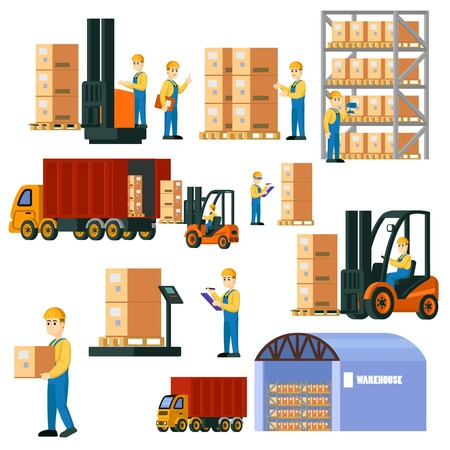 Colorful Logistic Warehouse Set Illustration